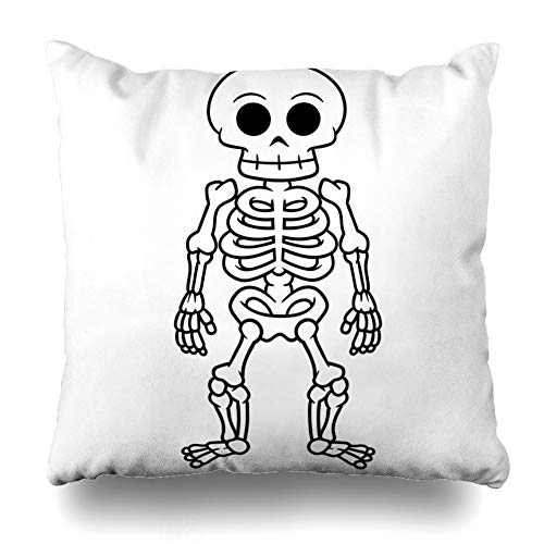KJONG Black Skeleton Body Bones Human People Sign Zippered Pillow Cover,18 x 18 inch Square Decorative Throw Pillow Case Fashion Style Cushion Covers(Two Sides Print) ()