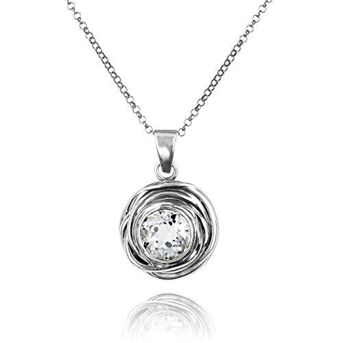 Paz Creations 925. Sterling Silver Swirl Design Solitaire Gemstone Pendant Necklace (Clear Quartz)
