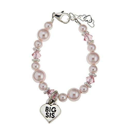 Crystal Dream Elegant Big Sister Heart Silver Charm with Pink Swarovski Simulated Pearls Keepsake Child Girl Bracelet (BBSM_M+)