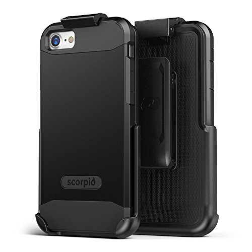 iPhone 8 Belt Clip Case Screen Protector, Encased Scorpio R5 Dual Layer Protective Cover Holster Apple iPhone 8 (Black)