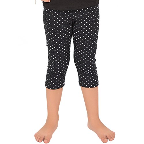 Stretch is Comfort Girl's Capri Leggings Black Polka Dot Small