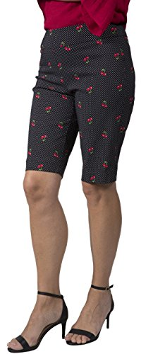 Fundamental Things Women's Easy Pull-On Patterned Skimmer Capris with Tummy Control and Slimming Sensations Fabric, Cherry, Size 18