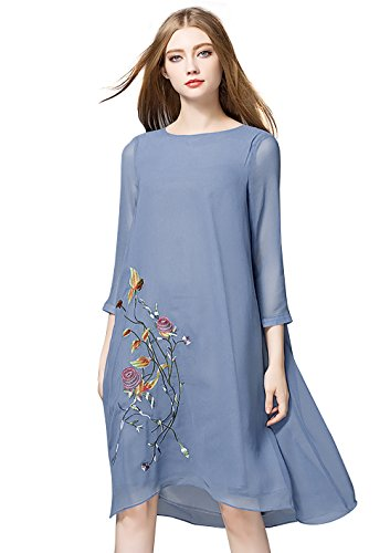 LAI MENG FIVE CATS Women's Flowers Embroidered Rounded Neck 2/3 Sleeve Quality Chiffon Loose Dress (3XL, Blue) (Embroidered Chiffon)