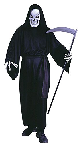 [GTH Men's Scary Hooded Robe Grave Reaper Theme Party Fancy Halloween Costume, One Size] (Adult Grave Reaper Costumes)