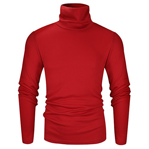 Derminpro Men's Thermal Turtleneck Soft Long Sleeve T-Shirt Red Medium ()