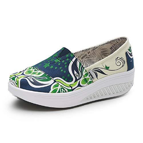Qiusa Imprimir Mujer Zapatos Rocker Sole Mixed Color Shake Trainers (Color : Beige, tamaño : EU 39) Verde
