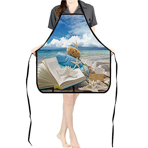 Jiahong Pan Cooking Kitchen Bib Aprons Relaxen Auszeit am Meer with Pockets ApronsK26.6xG27.6xB10.2 - Love Hat I Chefs Lucy