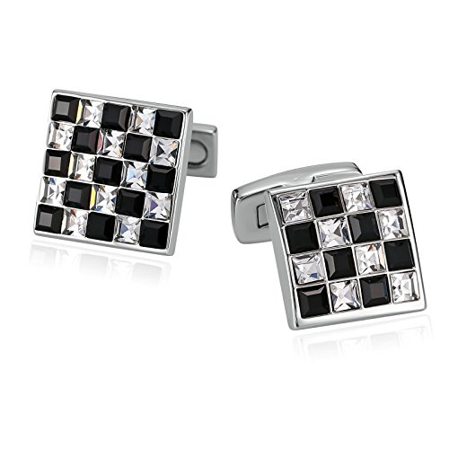 AmDxD Jewelry Stainless Steel Cufflinks for Men Square Lattice Black White - Shop Online Oroton