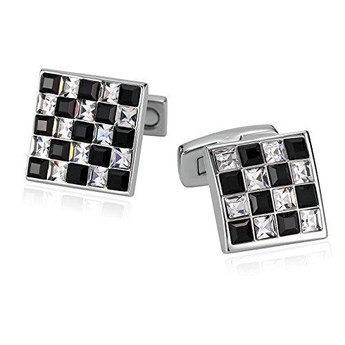 AmDxD Jewelry Stainless Steel Cufflinks for Men Square Lattice Black White - Oroton Shop Online