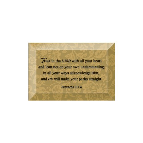 Plaque Beveled Glass (Trust In The Lord Beveled Glass Plaque with Easel)
