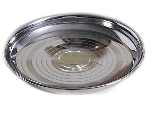 Round Liner Guard (valentines day gifts, Stainless Steel Designer Round Dinner Or Lunch Plates / Dishes, Silver Color Size 4.5 X 4.5 Inch)