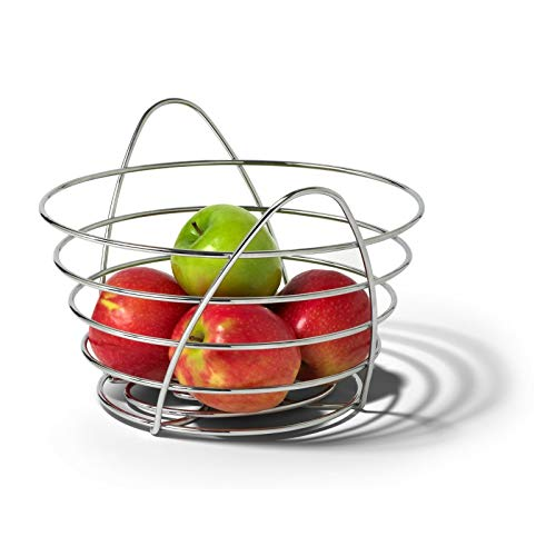 (Boomer888 New Modern Contemporary Decorative Chrome Metal St.Louis Arch Fruit Bowl Basket size W.12 x Depth 11.25 x H.8 inch)