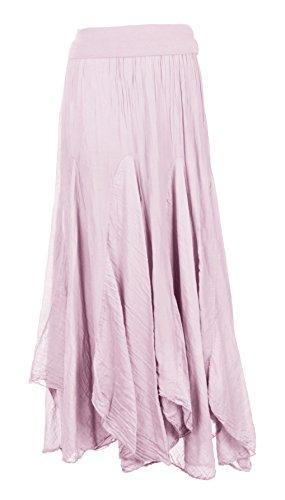 TEXTURE Ladies Womens Italian Lagenlook Silk Panel Handkerchief Asymmetric Hem Long Maxi Boho Skirt One Size (Light Pink, One Size)