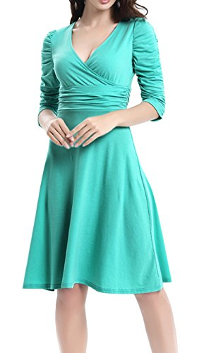 Cuello Dress 4 Elegante Manga Fiesta Vestido Cóctel V Mujer Retro Turquesa DELEY 3 Casual xw870qIE