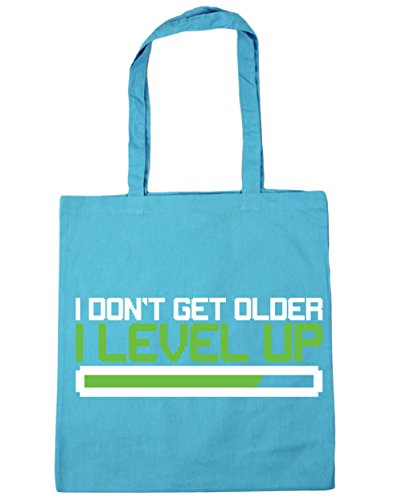 HippoWarehouse I Don 't Get Older I nivel Up bolsa de la compra bolsa de playa 42cm x38cm, 10litros, Cornflower Blue (azul) - 21425-TOTE-cornflower blue Surf Blue