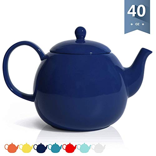 (Sweese 2313 Porcelain Teapot, 40 Ounce Tea Pot - Large Enough for 5 Cups, Navy)