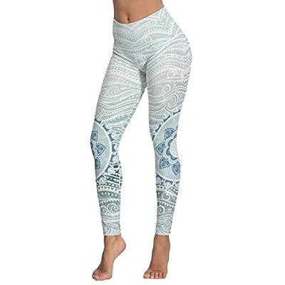 Women's Mandala Printed High Waist Leggings Full-Length Yoga Thin Capris Pants