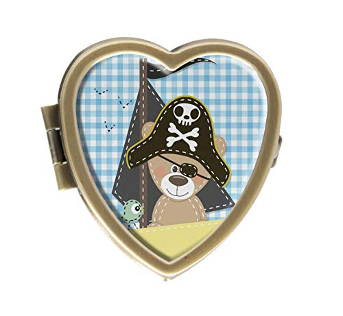 Pill Box Pirate Hat - Cartoon Bear in Pirate Hat with Bird On Boat Lumberjack Plaid Design Bronze Pill Case Box Western Medicine Tablet Holder Decorative Bronze Pill Box for Pocket or Purse