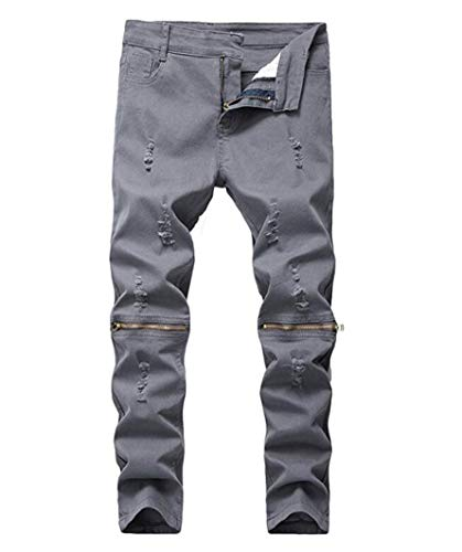 DEITP Boy's Gray Slim Fit Skinny Ripped Distressed Zipper Jeans with Holes 8