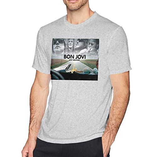 TERRY GARRARD Bon Jovi Band Heart Logo Jon Men's Short Sleeve T-Shirt Gray M ()