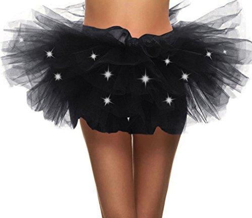 Toppers Womens Fairy Princess LED Light up 5 Layered Tulle LED Tutu Skirt Black