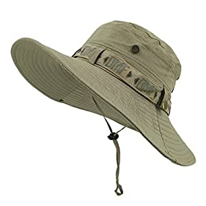 LETHMIK Fishing Sun Boonie Hat Summer UV Protection Cap Outdoor Hunting Hat Gray Green