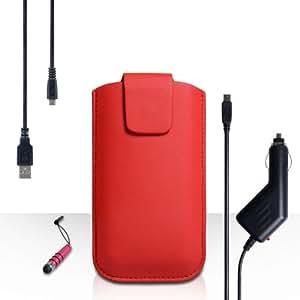 Yousave Accessories carcasa para LG K10Rojo Lichee sintética bolsa Funda con MINI Capacitivo Pluma, Cargador de Coche y Cable USB