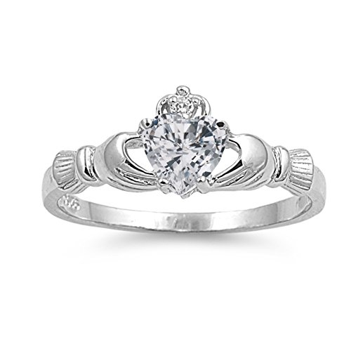 925 Sterling Silver Faceted Natural Genuine White Topaz Claddagh Heart Promise Ring Size 3