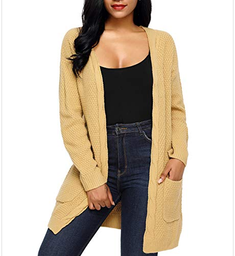 Femmes Maille Jeune Hauts Simple Hiver Pullover Mode Gilets Fashion Manches Tops Casual Kaki Automne Cardigan Outwear en Longue Tricots Sweater Pull Mi Vestes Chandail Longues Coat Manteau 4RERrnS