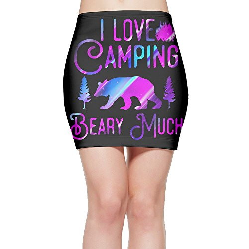 I Love Camping Beary Much Funny Camping1 Women's High Waist Bodycon Pencil Skirt Strethcy Short Fitted Mini Skirt