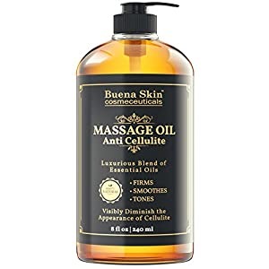 Anti Cellulite Treatment Massage Oil - Lifts and Tightens Skin Appearance - D-limonene formula - Targets Unwanted Fat Cell Deposits - Hydrates and Moisturizes - By Buena Skin 8 OZ