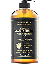 Anti Cellulite Treatment Massage Oil - Penetrates Skin 6X Deeper Than Cellulite Cream -100% Natural Ingredients, Targets Unwanted Fat Tissue - By Buena Skin 8 OZ