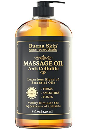 Anti Cellulite Treatment Massage Oil - Penetrates Skin 6X Deeper Than Cellulite Cream -100% Natural Ingredients, Targets Unwanted Fat Tissue - By Buena Skin 8 (Firming Body Oil)
