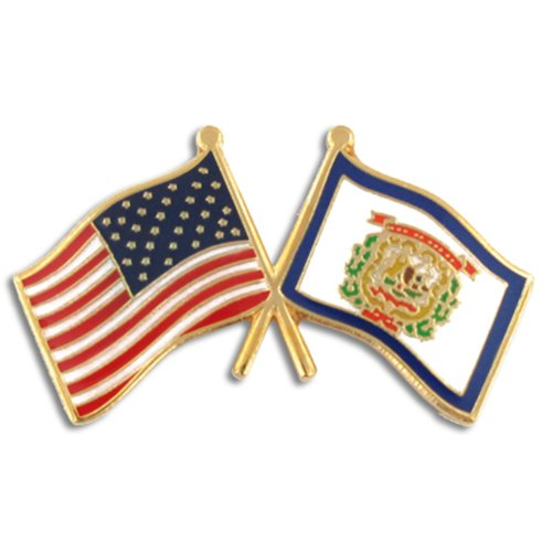 Virginia Flag Lapel Pin - PinMart's West Virginia and USA Crossed Friendship Flag Enamel Lapel Pin