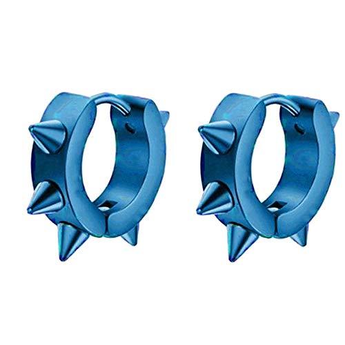 Sinfu Men Women Gear Alloy Earrings(Hoop Spike Circle Huggie Studs Earrings Punk Cool) (Blue)