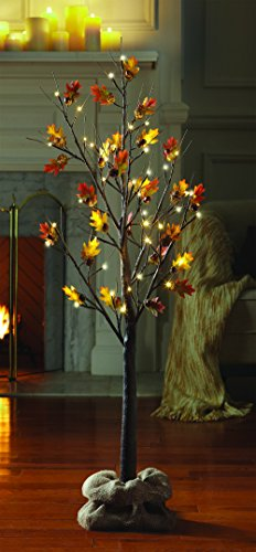 LOFTPLUS Acorn Harvest Fall Tree Bonsai Decorative String Light 48 LED for Indoor & Outdoor Use Warm White Power Adapter Operated Burlap sack Included 48in (Acorns Decorative)