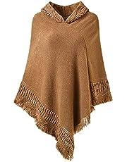 OOGUDE Vrouwen Knit (Vesten Hooded Cape met franjes Hem Gehaakte Poncho Breien Sweatshirts Truien voor Dames