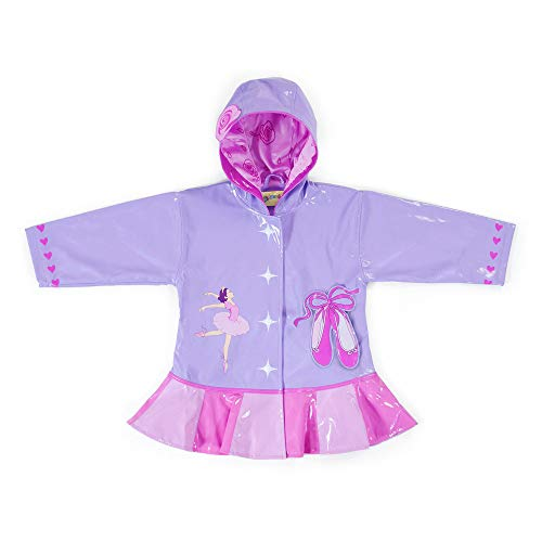 Kidorable Pink Ballerina PU All-Weather Raincoat for Girls w/Rose Dancer Hearts Ballet Shoes 6/7