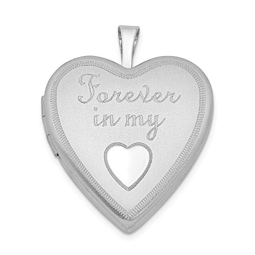 925 Sterling Silver 20mm Forever In My Heart Photo Pendant Charm Locket Chain Necklace That Holds Pictures Fine Jewelry Gifts For Women For Her (Forever In My Heart Lockets And Charms)
