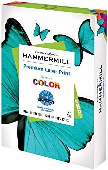 Hammermill Printer Paper, Premium Laser Print 32 lb, 11 x 17-1 Ream (500 Sheets) - 98 Bright, Made in the US
