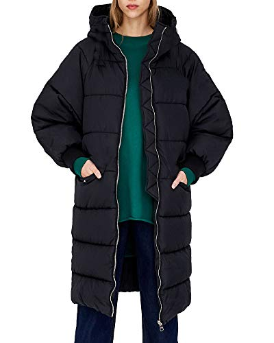 Roiii Women Casual Winter Warm Thicken Down Faux Fur Coat Outdoor Hood Parka Long Jacket Plus Size S- 3XL (Large, Classic Black)