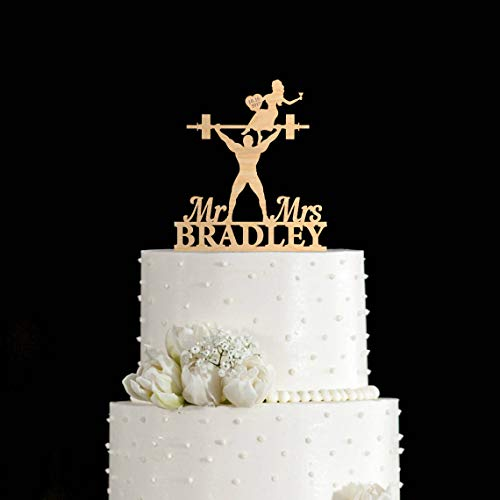 Weight lifting wedding cake topper Weight lifter cake topper gym cake topper weight lifting cake toppers body builder wedding cake topper (Weight Lifting Cake Topper)