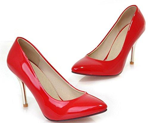 YCMDM Alta - tacco a punta sceglie i pattini Moda Scarpe casual donne a punta in pelle Nuova Primavera Autunno Moda Albicocca Bianco Rosso Nero Verde 34 35 36 37 38 39 , red , 100W