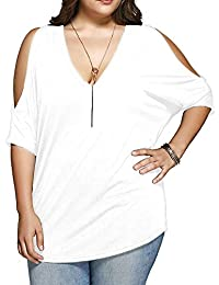 Women Plus Size V Neck Short Sleeve Batwing Top Cold...