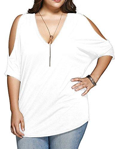 Allegrace Women Plus Size V Neck Short Sleeve Batwing