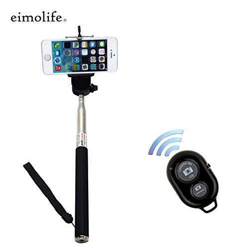 eimolife® Classic Self Portrait Self Shot Monopod Selfie Stick With Phone Holder For Samsung Galaxy S2/3/4/5 Note 2/3/4 iPhone 4/5/6 With Bluetooth Remote Camera Wireless Shutter