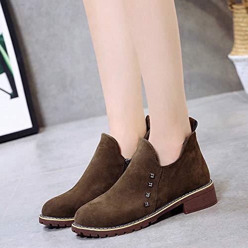 Caqui Mujer Calzado Botas Luckygirls Con Moda Botina Para Planos Zapatos Cierre Remache Ante CptU7wq