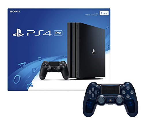 Playstation 4 Pro 1TB Console with Extra 500 Million Limited Edition Translucent Blue Dualshock 4 Wireless Controller Bundle