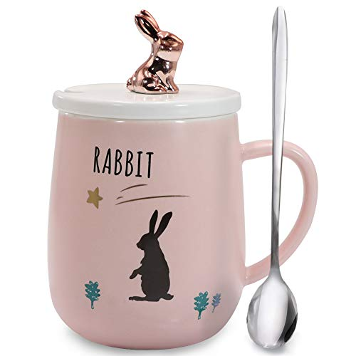 Sunddo Rabbit Mug Cute Bunny Coffee Mugs Funny Ceramic Tea Cups with Lid and Spoon Indoor Gifts for Animal Lovers 14 OZ