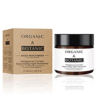 Organic & Botanic Madagascan Coconut Rejuvenating Night Moisturiser, 50ml. Premium Vegan Skincare For All Skin Types. Made In The UK.